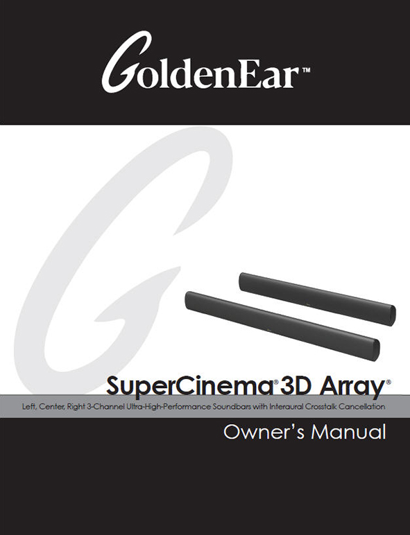SuperCinema 3D Array X and XL Manual